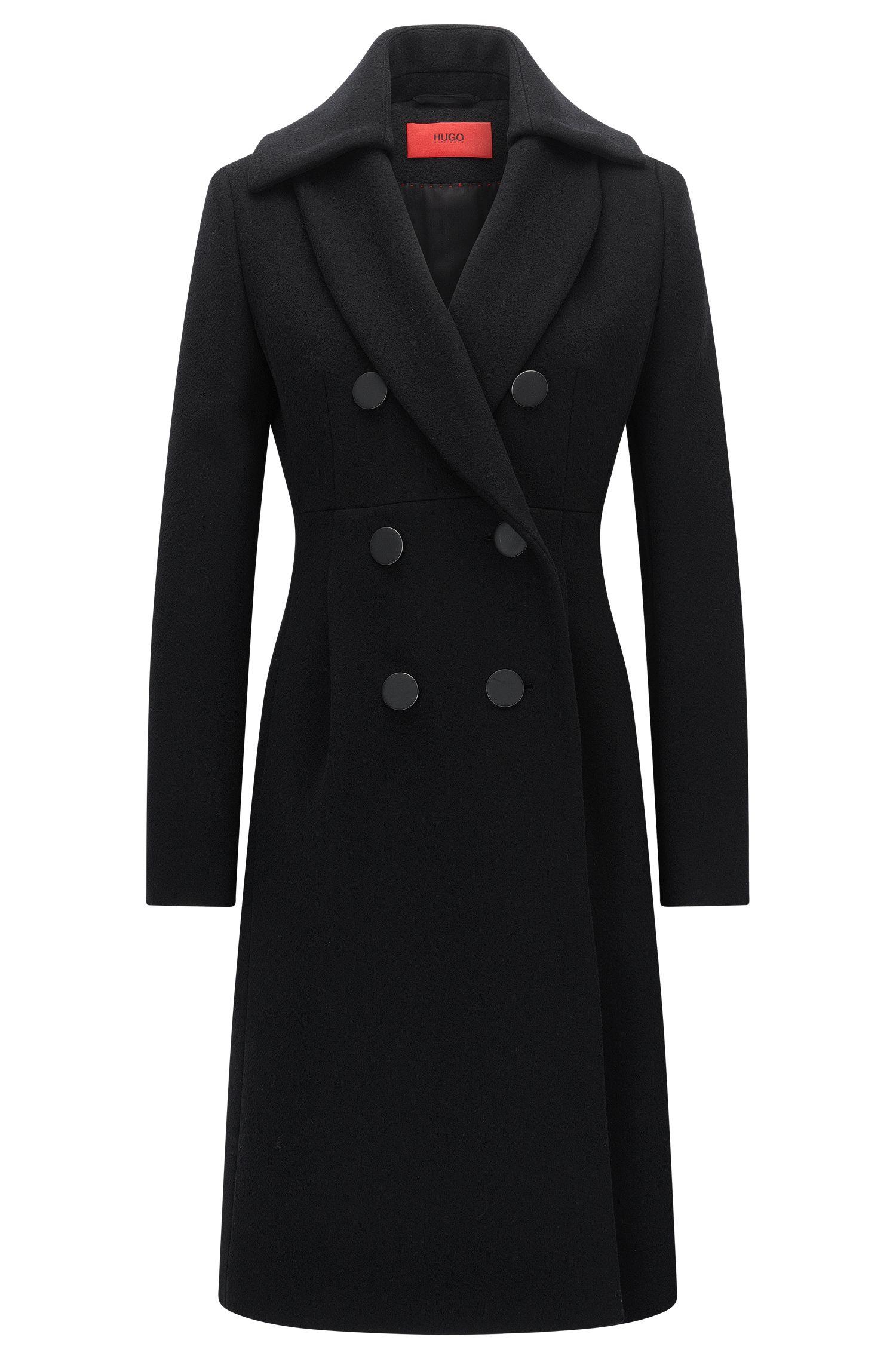 Slim-fit mantel van een wolmix met twee rijen knopen