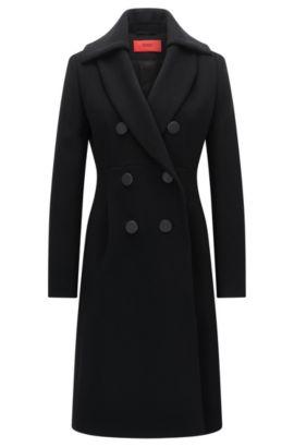 Slim-fit mantel van een wolmix met twee rijen knopen, Zwart