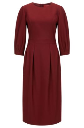 Crew-neck dress in soft double-faced fabric, Donkerrood