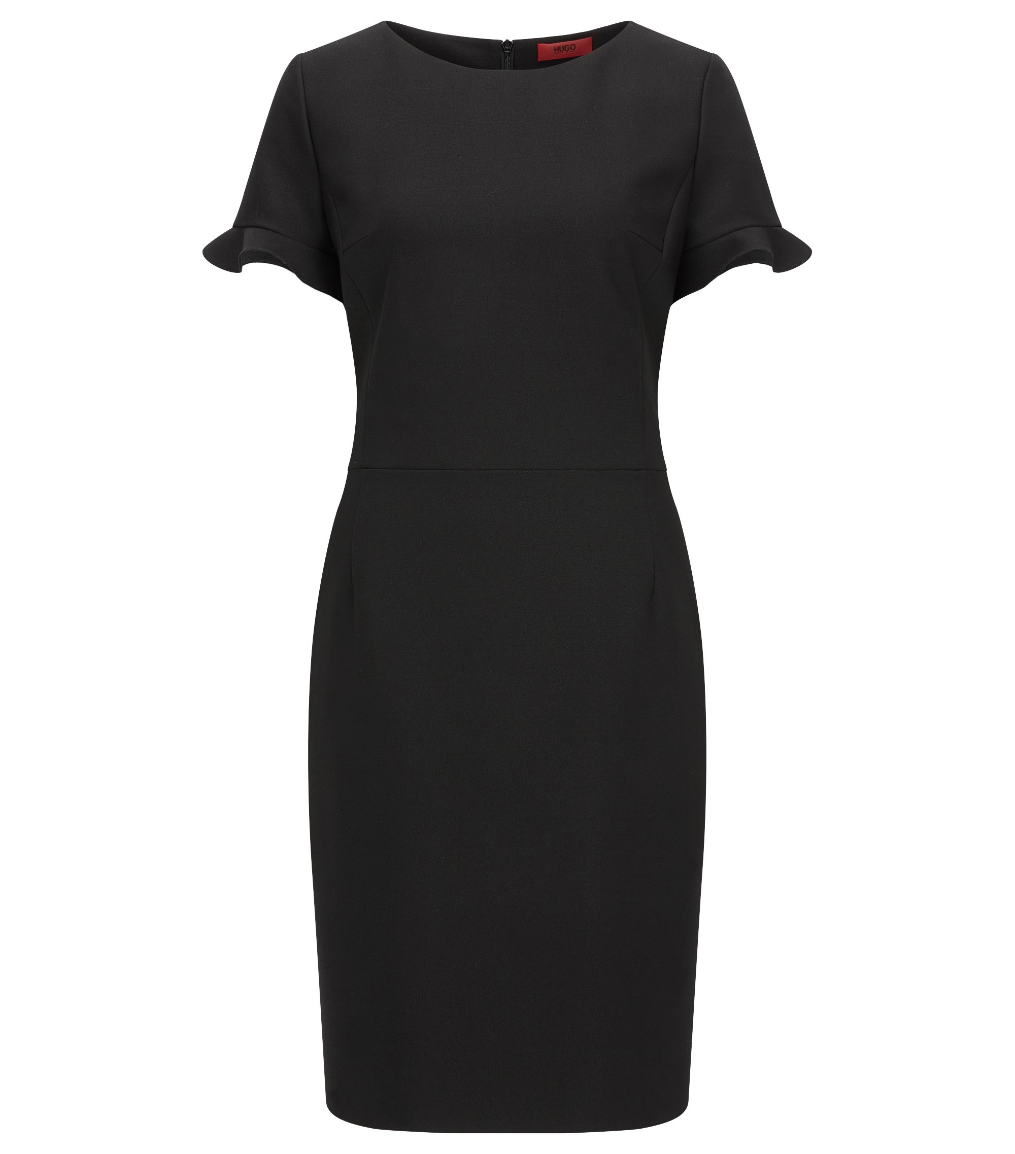 Regular-fit dress in technical stretch fabric, Black