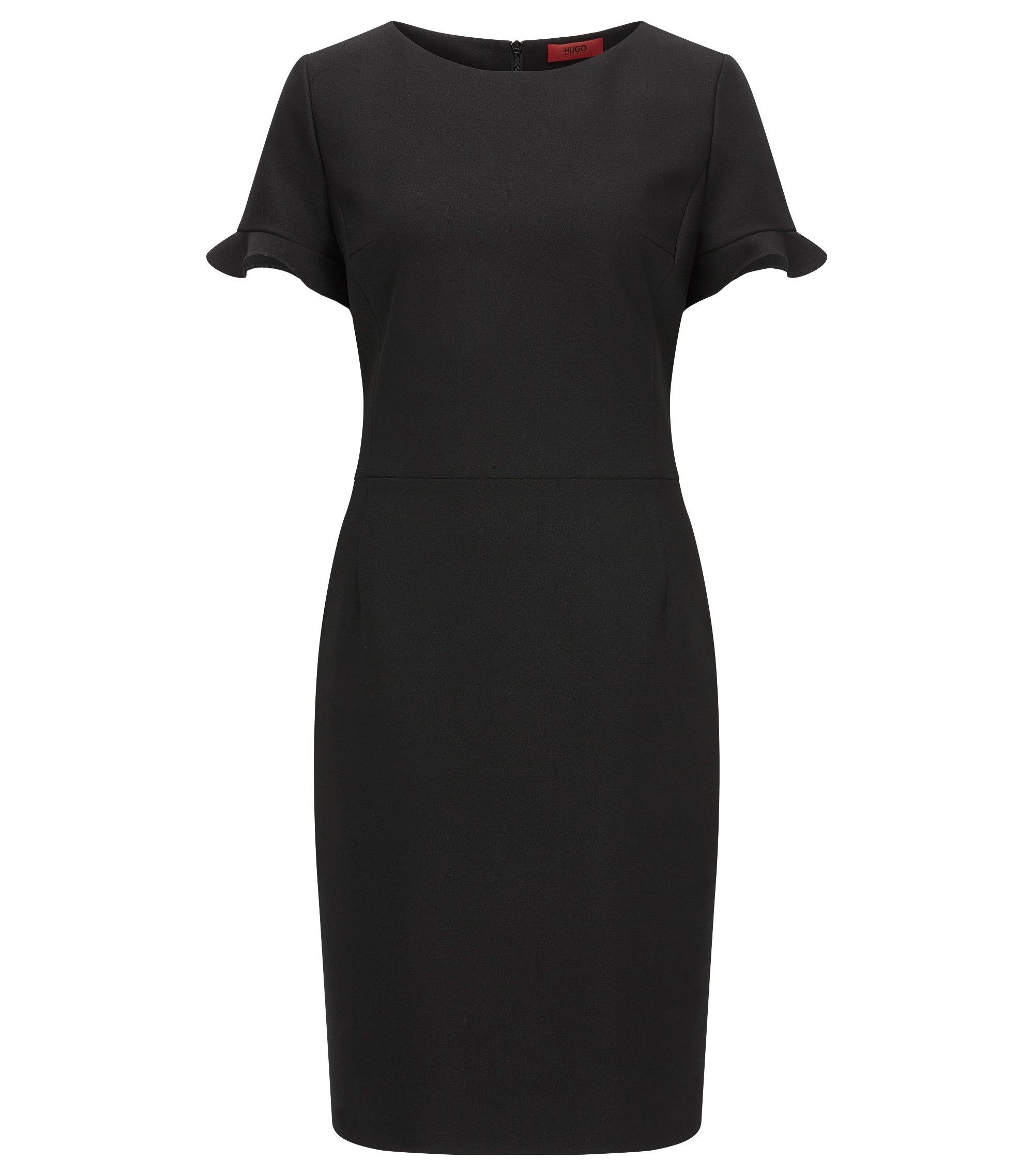 Regular-Fit Kleid aus elastischem Material-Mix, Schwarz
