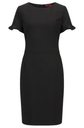 Robe Regular Fit en tissu stretch technique, Noir