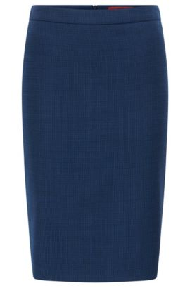 Regular-fit pencil skirt in virgin wool, Open Blue