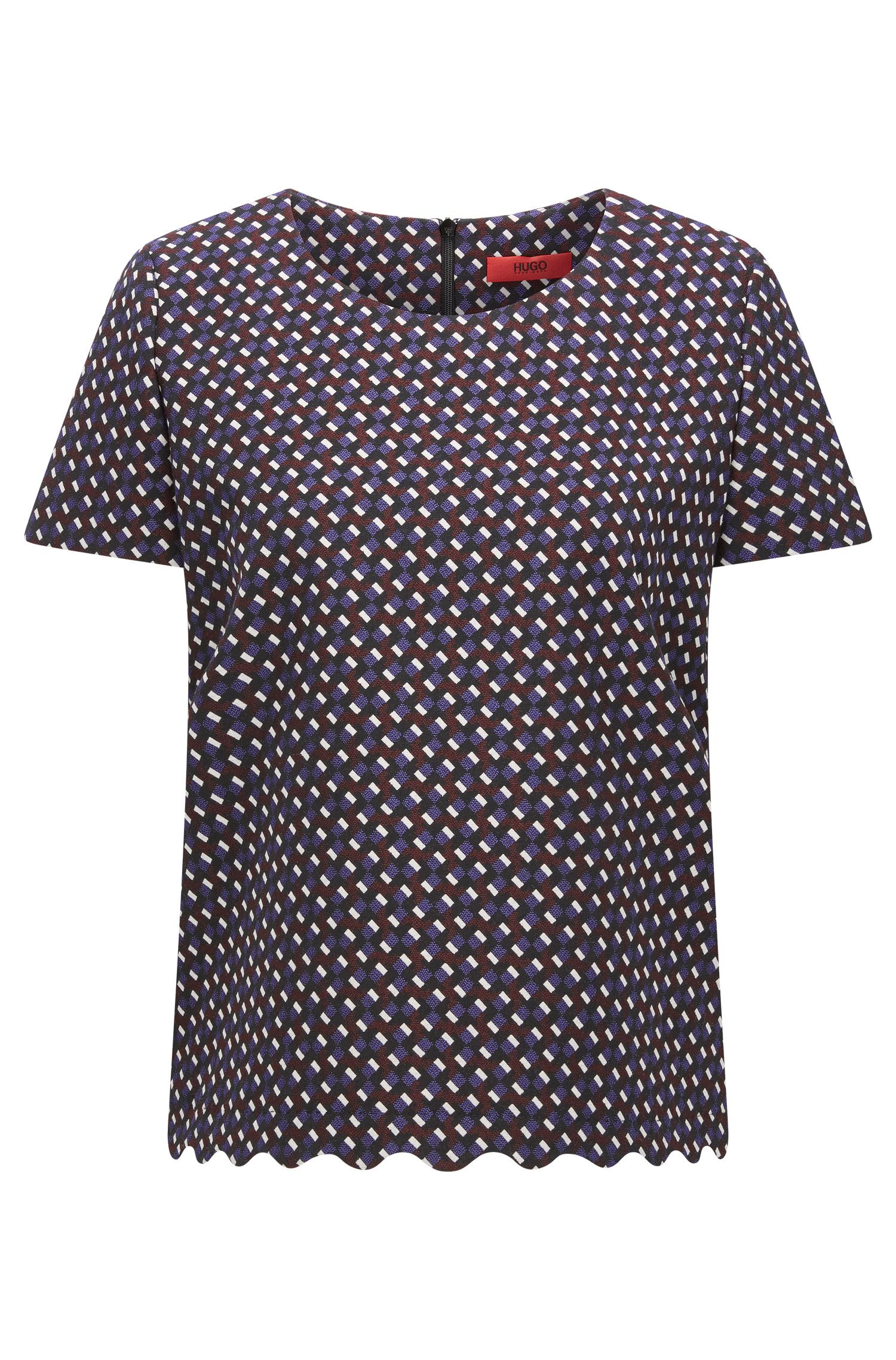 Short-sleeved top in graphic jacquard