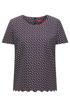 Short-sleeved top in graphic jacquard, Patterned