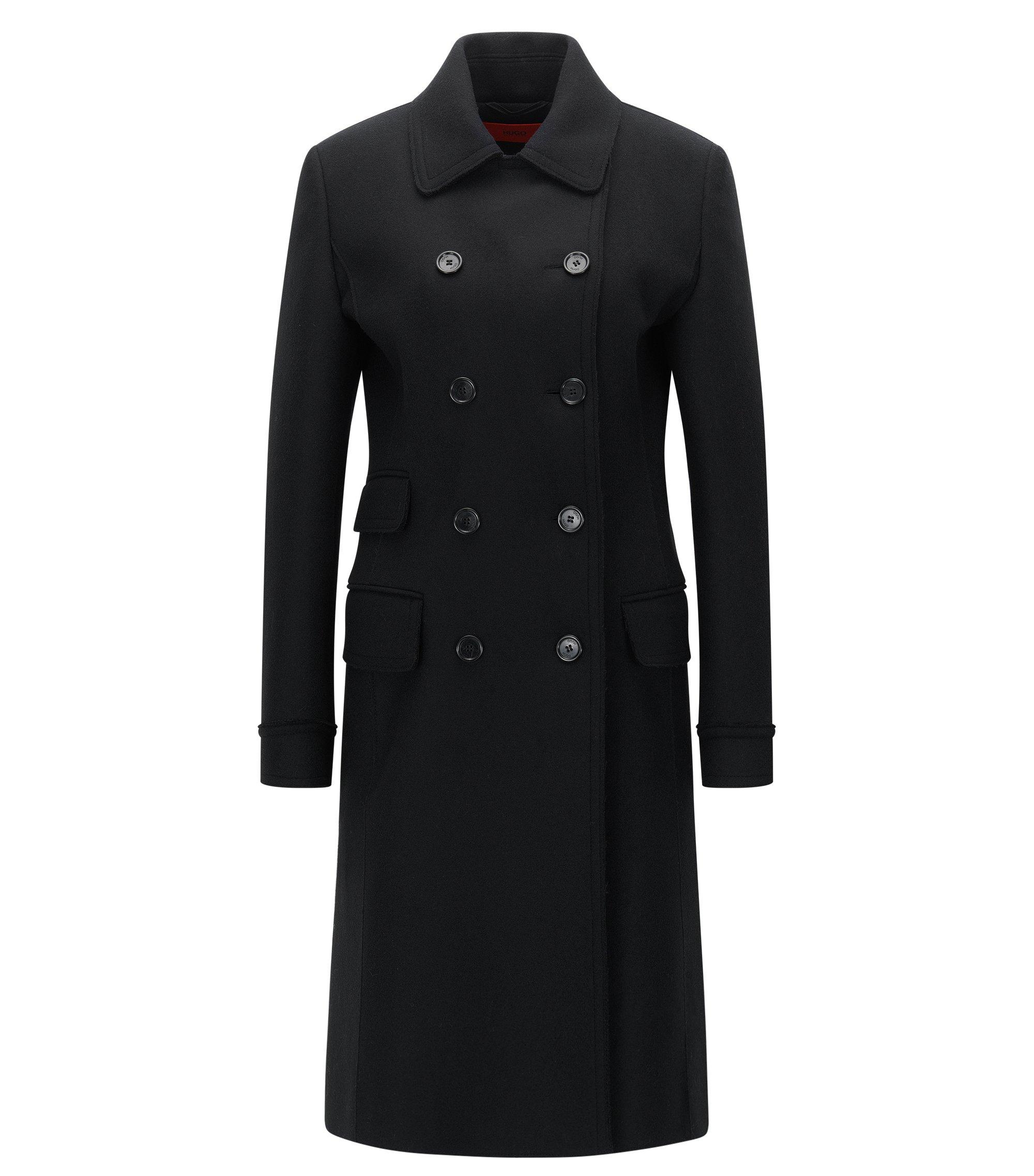 Regular-Fit Mantel aus Woll-Mix mit offenen Kanten, Schwarz