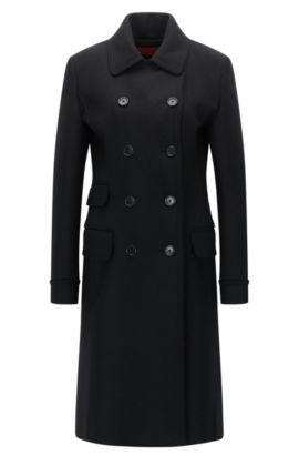 Wool-mix coat in a regular fit, Zwart