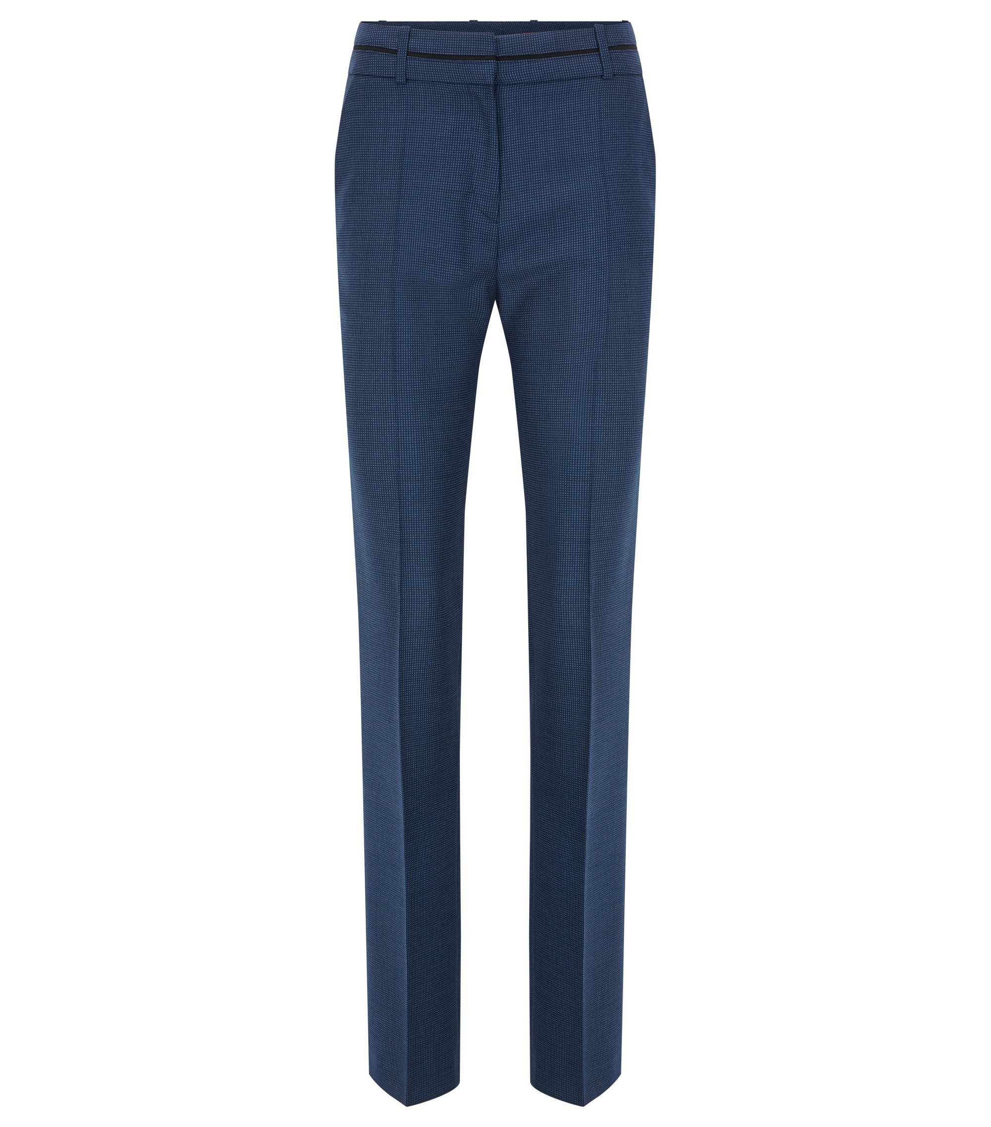 Regular-fit trousers in patterned virgin wool, Blue