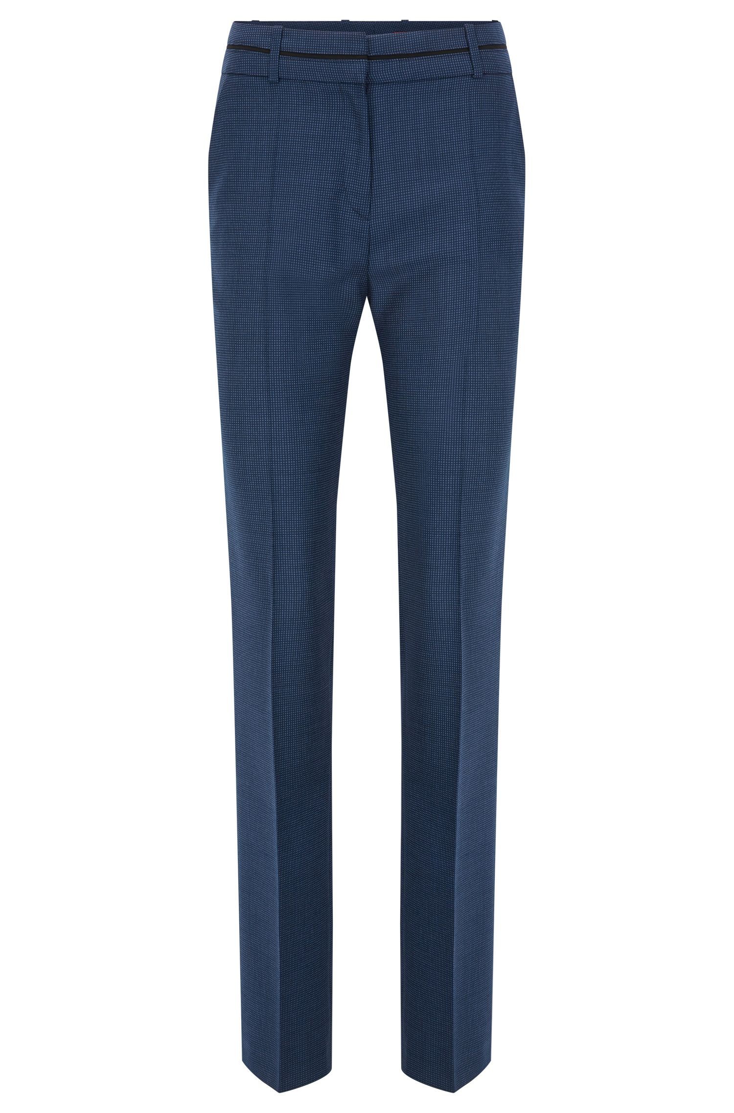 Regular-fit trousers in patterned virgin wool