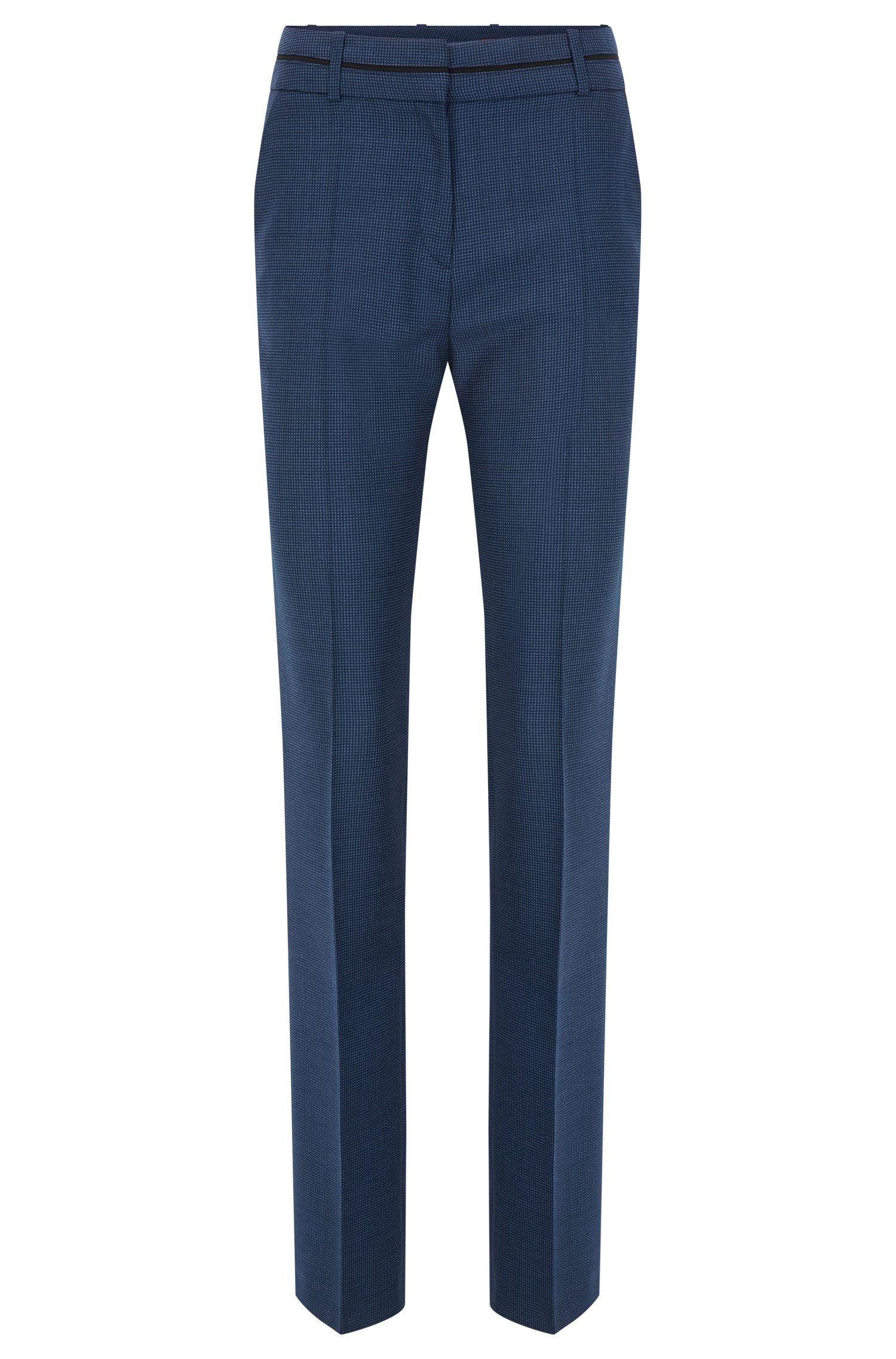 Regular-fit broek van scheerwol met dessin