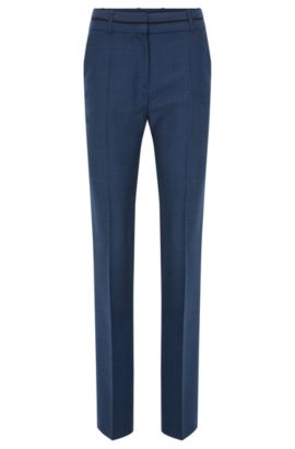 Pantaloni regular fit in lana vergine con motivo all-over, Celeste