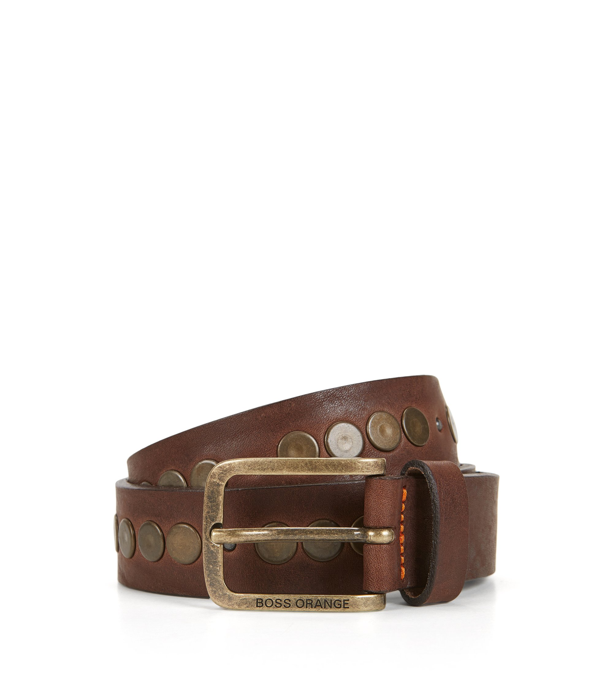 Hand-stitched belt in tumbled leather, Dark Brown