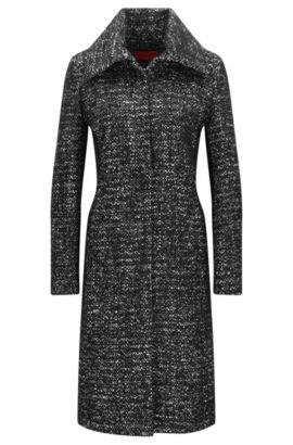 Regular-fit coat in heavyweight fabric, Nero