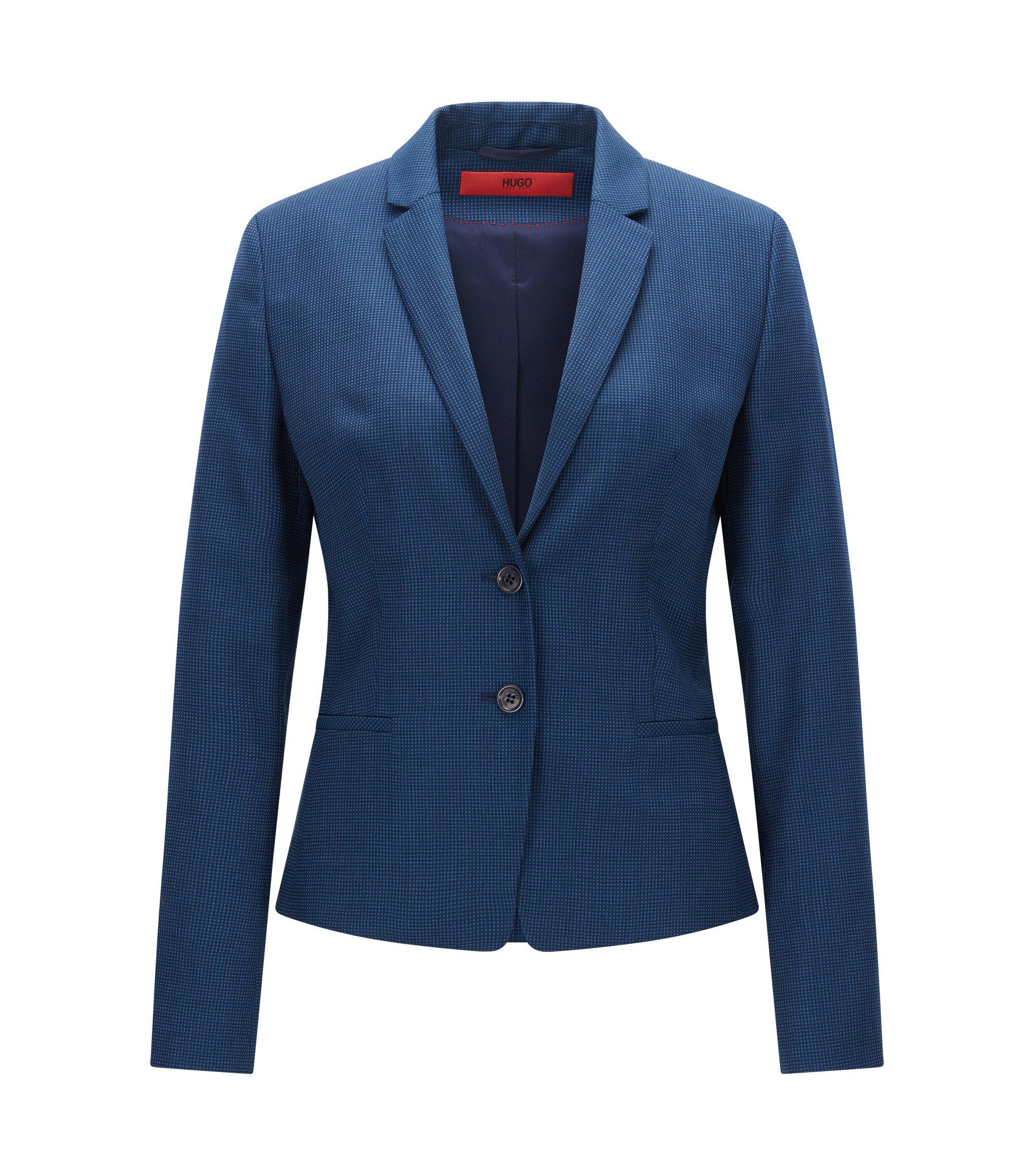 Gemusterter Regular-Fit Blazer aus Schurwolle, Blau