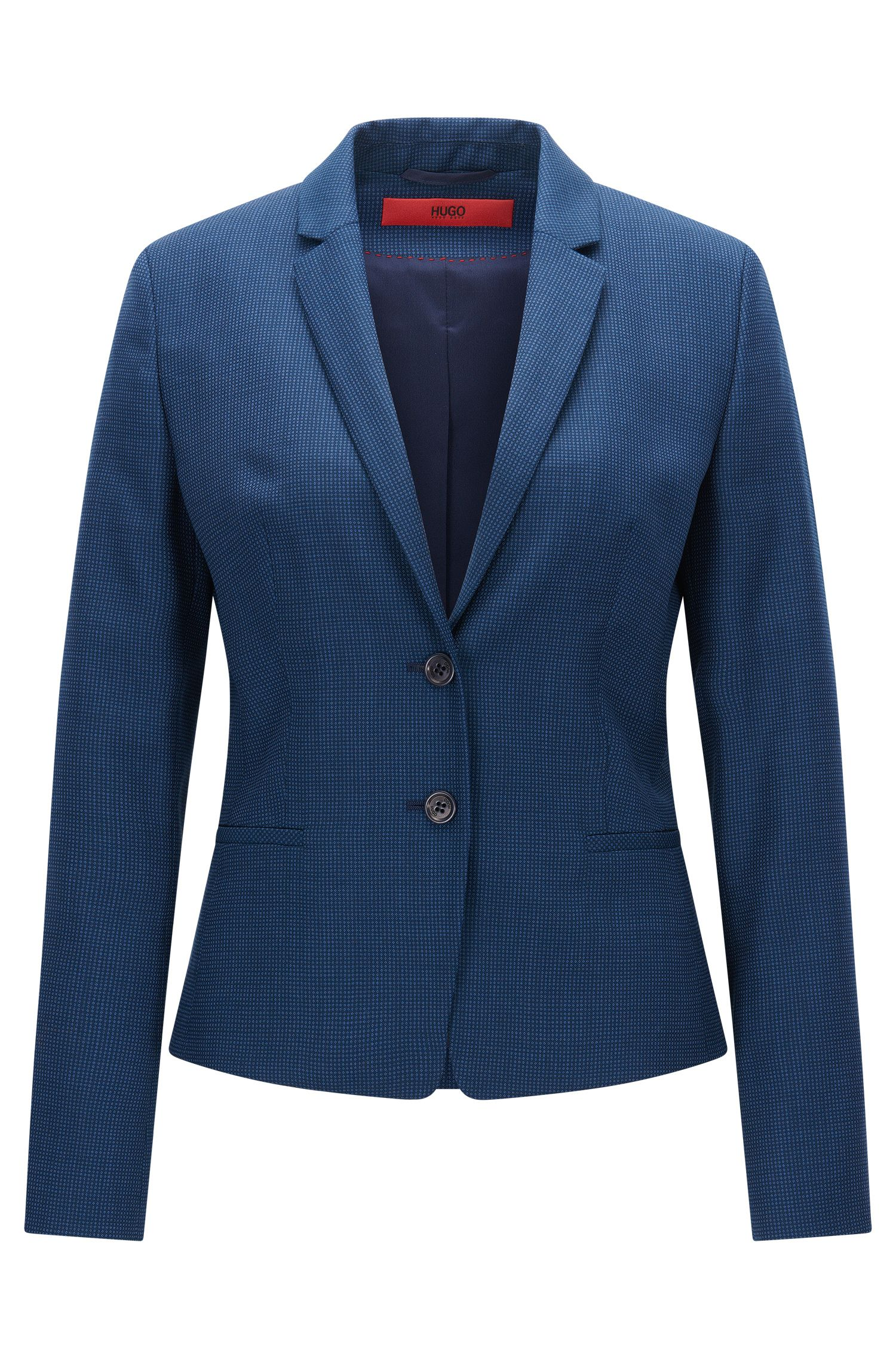 Giacca regular fit in lana vergine con motivo all-over