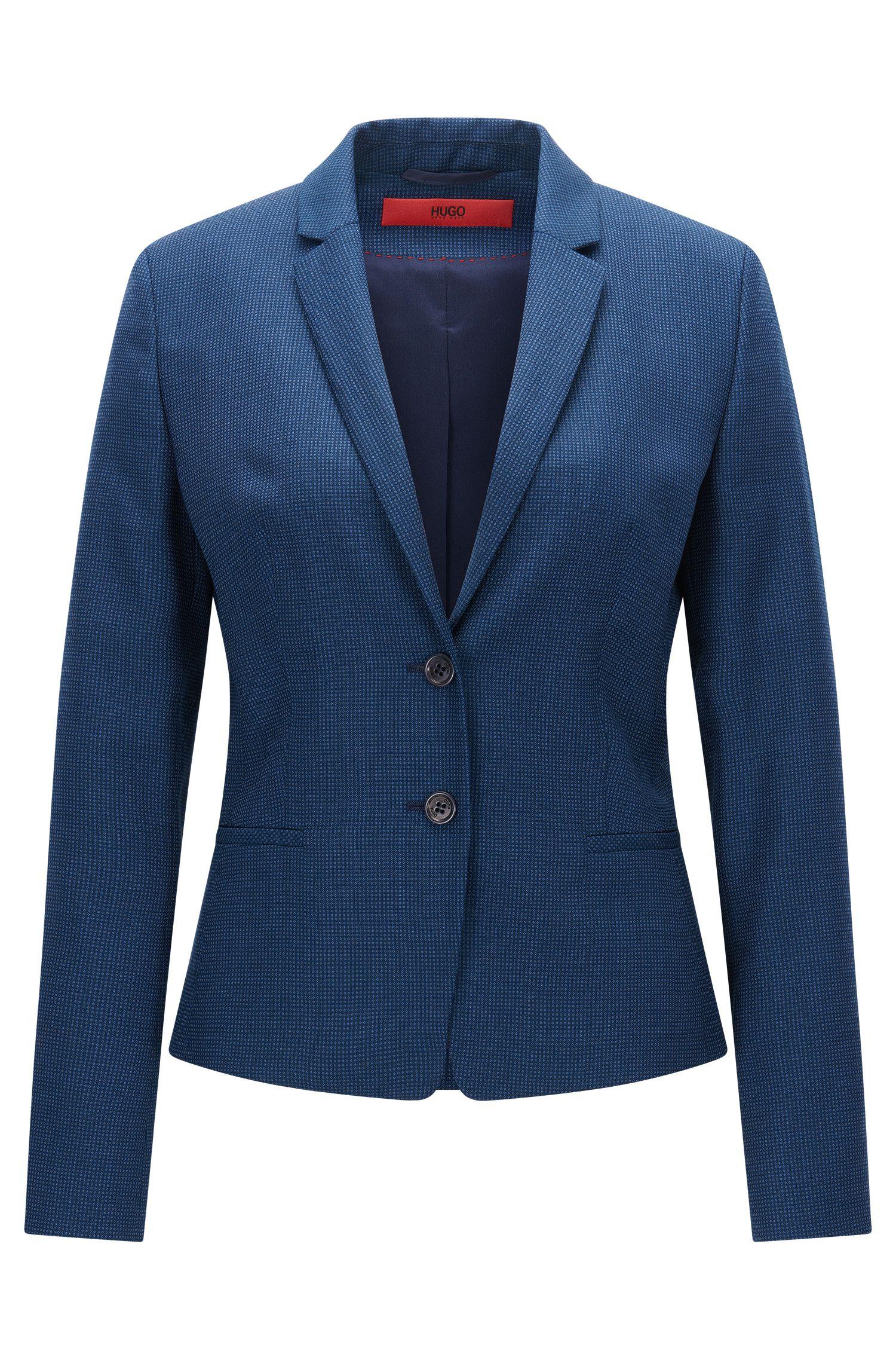 Regular-fit jas van scheerwol met dessin