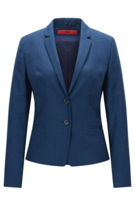 Regular-fit jacket in patterned virgin wool, Open Blue