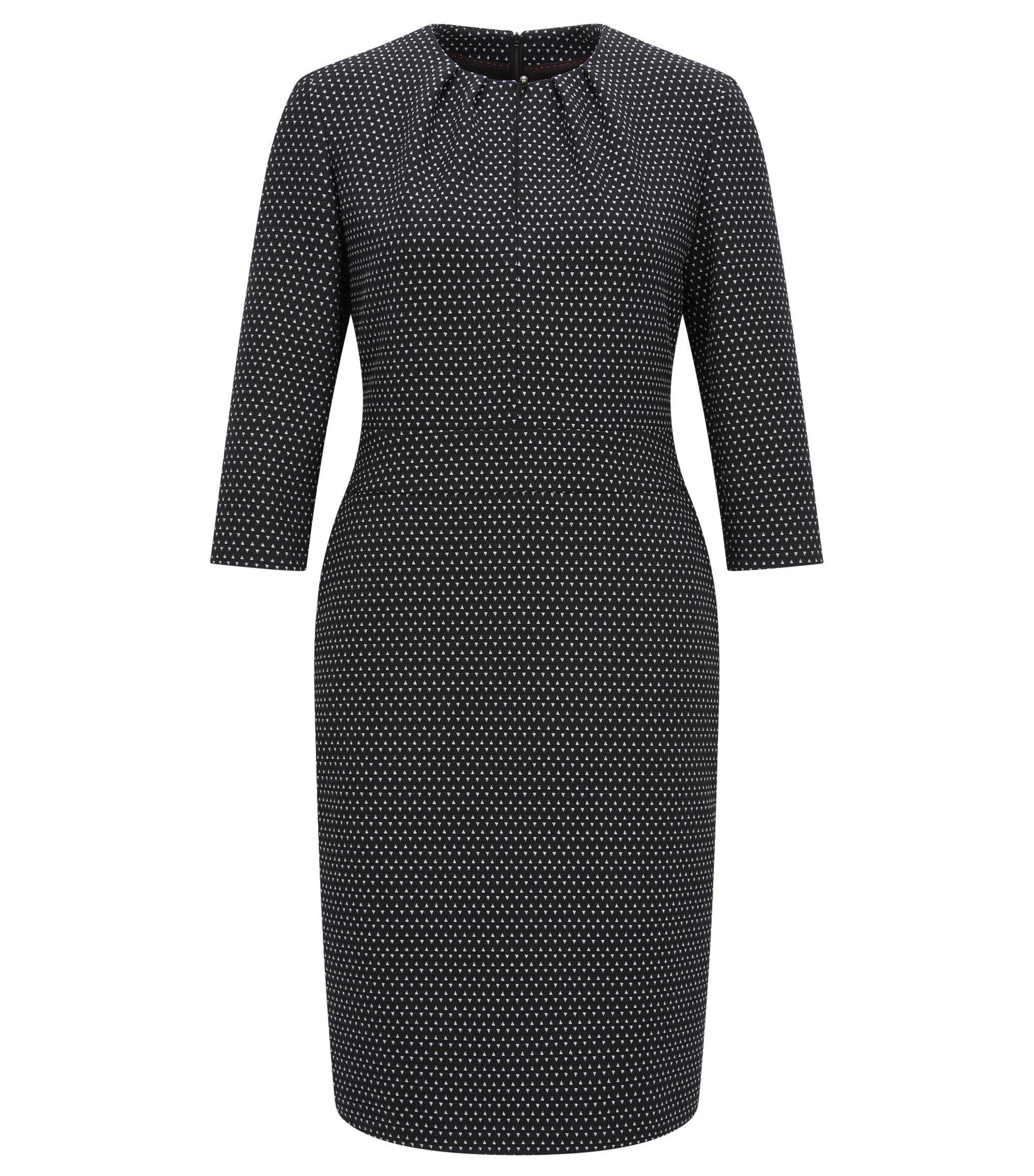 Bedrucktes Kleid aus elastischem Material-Mix, Schwarz