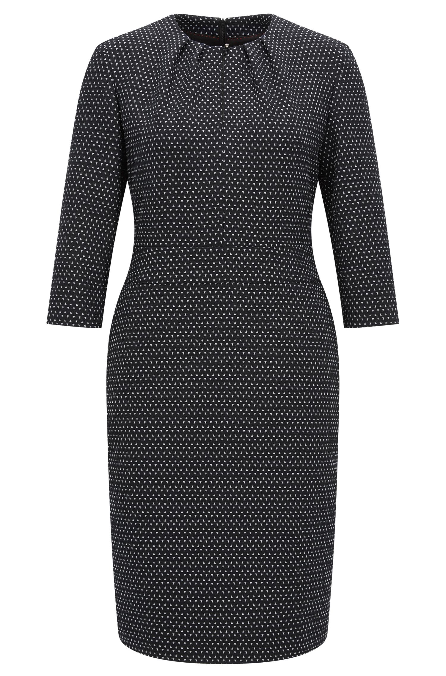 Crew-neck dress in printed stretch fabric