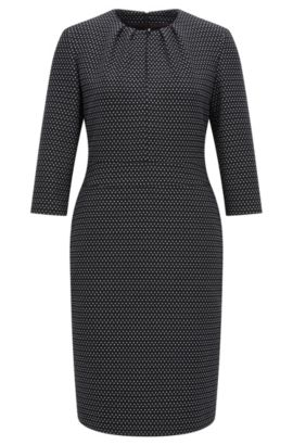 Crew-neck dress in printed stretch fabric, Black