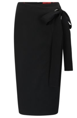 Wrap-effect pencil skirt in woven fabric, Black