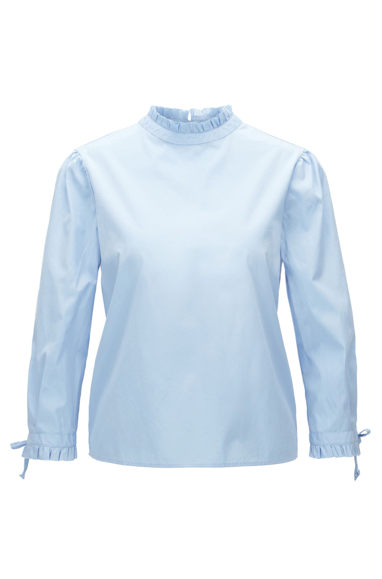 Regular-fit cotton blouse with pleated collar and cuffs