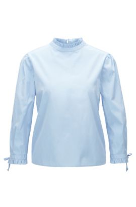 Regular-fit cotton blouse with pleated collar and cuffs, Dark Blue