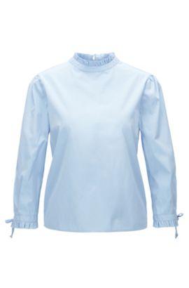 Chemisier Regular Fit en coton à col et bas des manches plissés, Bleu foncé
