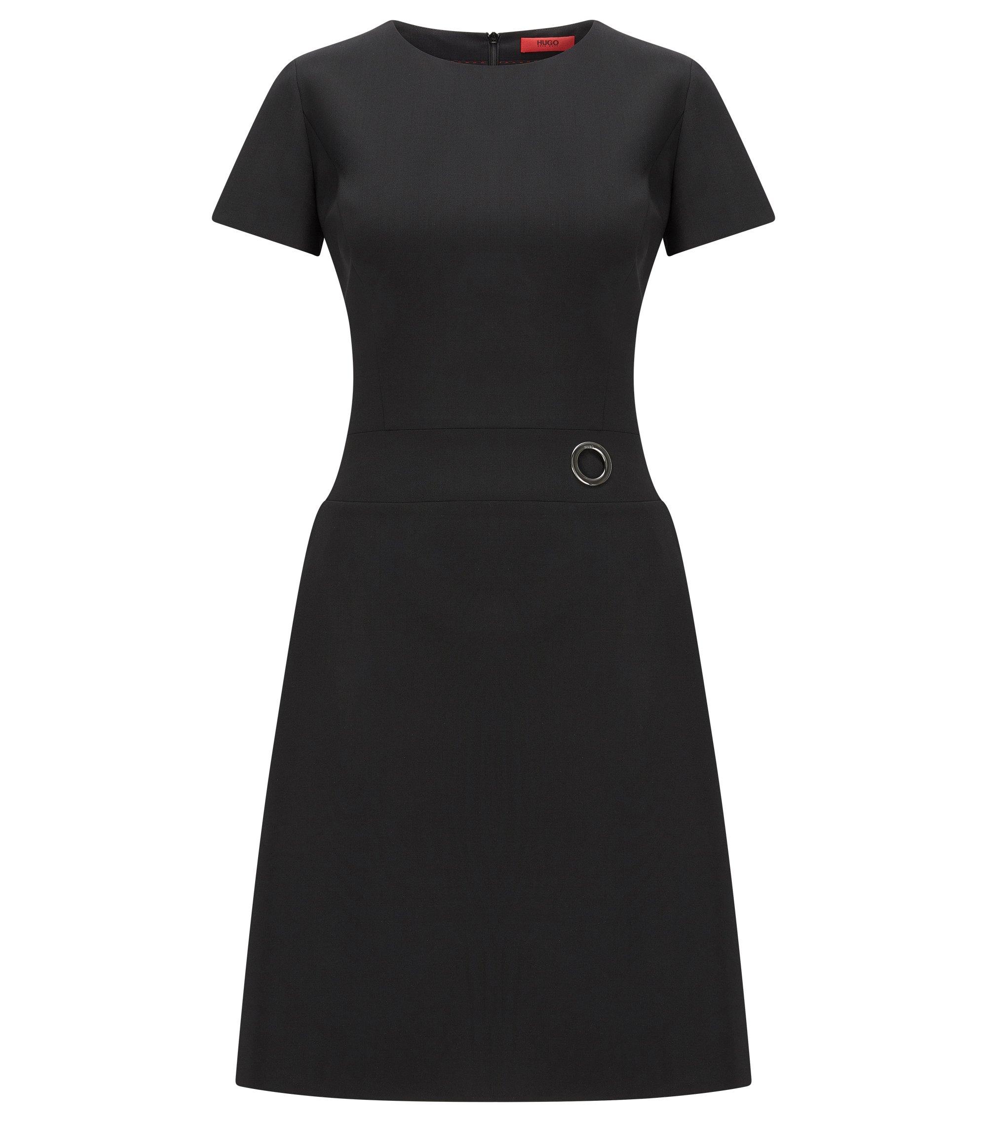 Kleid aus elastischer Schurwolle mit kurzen Ärmeln, Schwarz