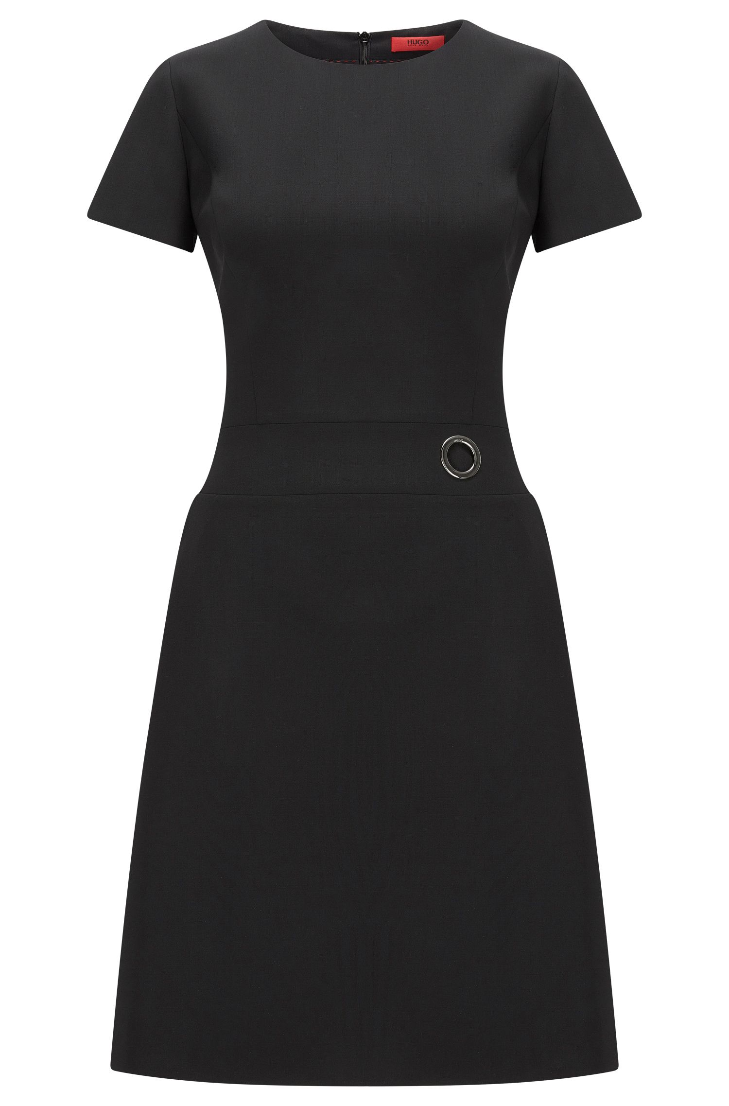 Short-sleeved dress in virgin wool blend