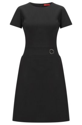 Short-sleeved dress in virgin wool blend, Black