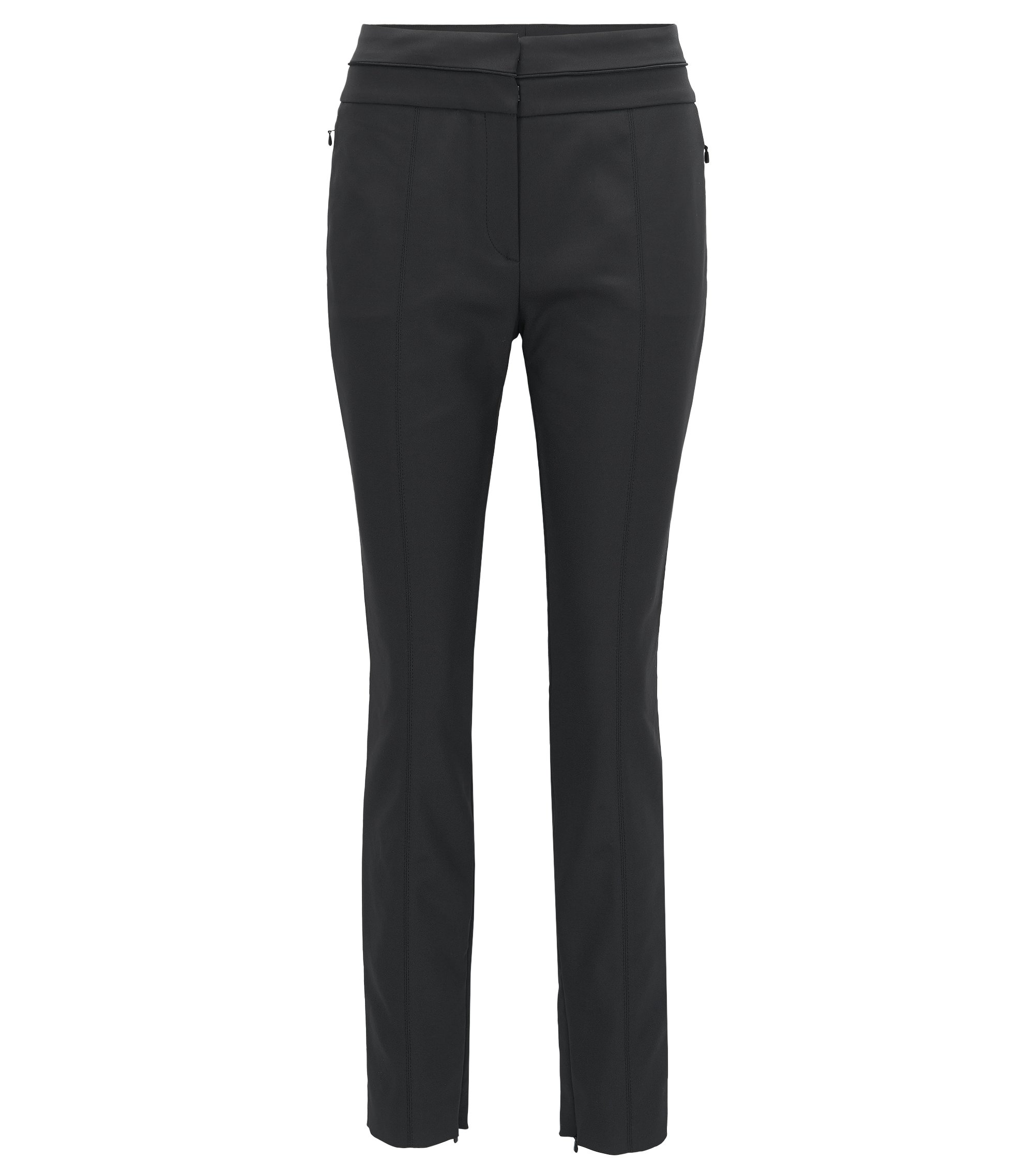 Pantalon Slim Fit en tissu technique stretch, Noir