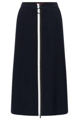 Regular-fit rok van dubbellaags materiaal, Donkerblauw