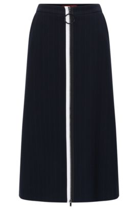 Regular-fit skirt in double-face fabric, Dark Blue