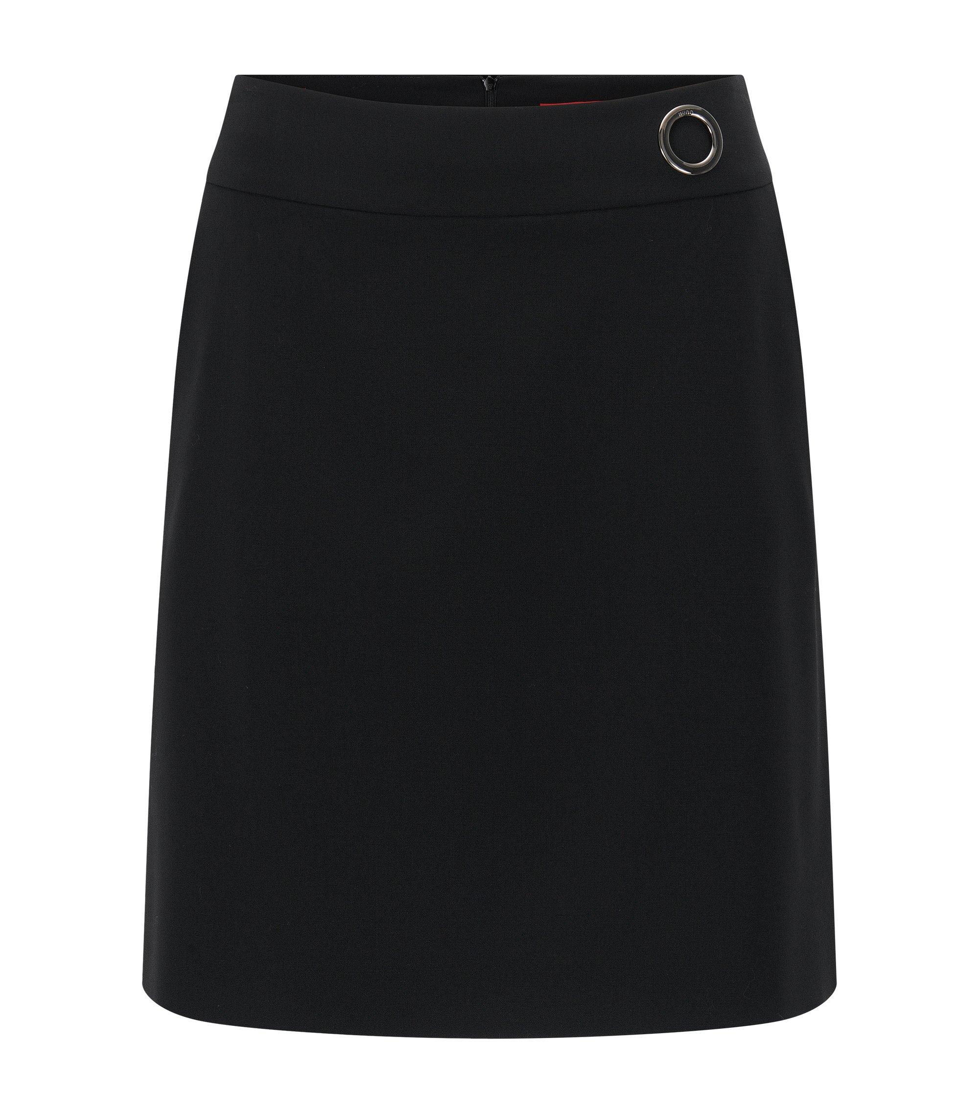 Regular-Fit A-Linien-Rock aus elastischer Schurwolle, Schwarz