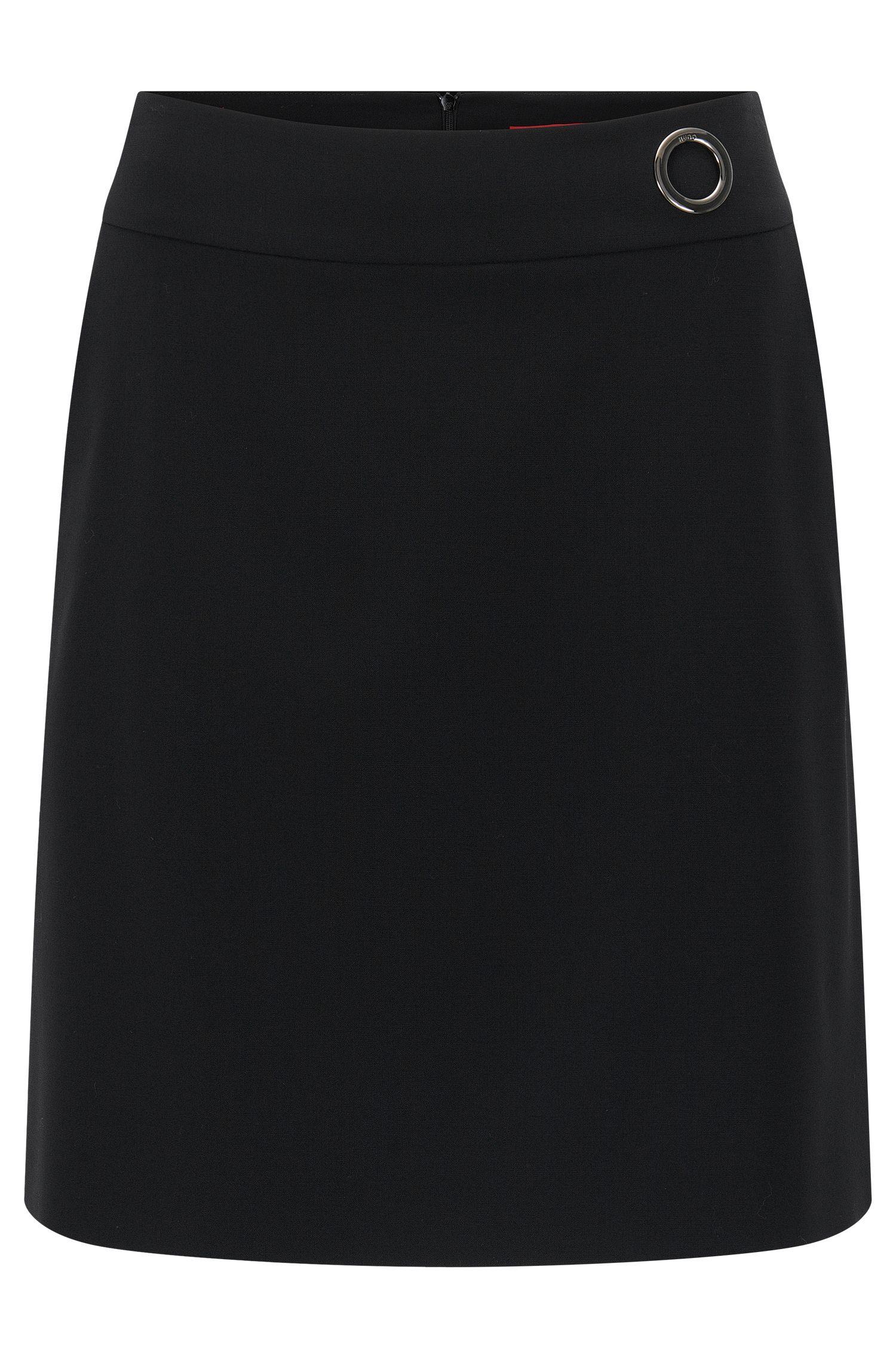 Regular-fit A-lijn rok van scheerwol