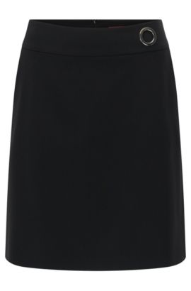 Regular-fit A-line skirt in virgin wool, Black