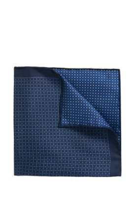Reversible printed pocket square in pure silk, Dark Blue