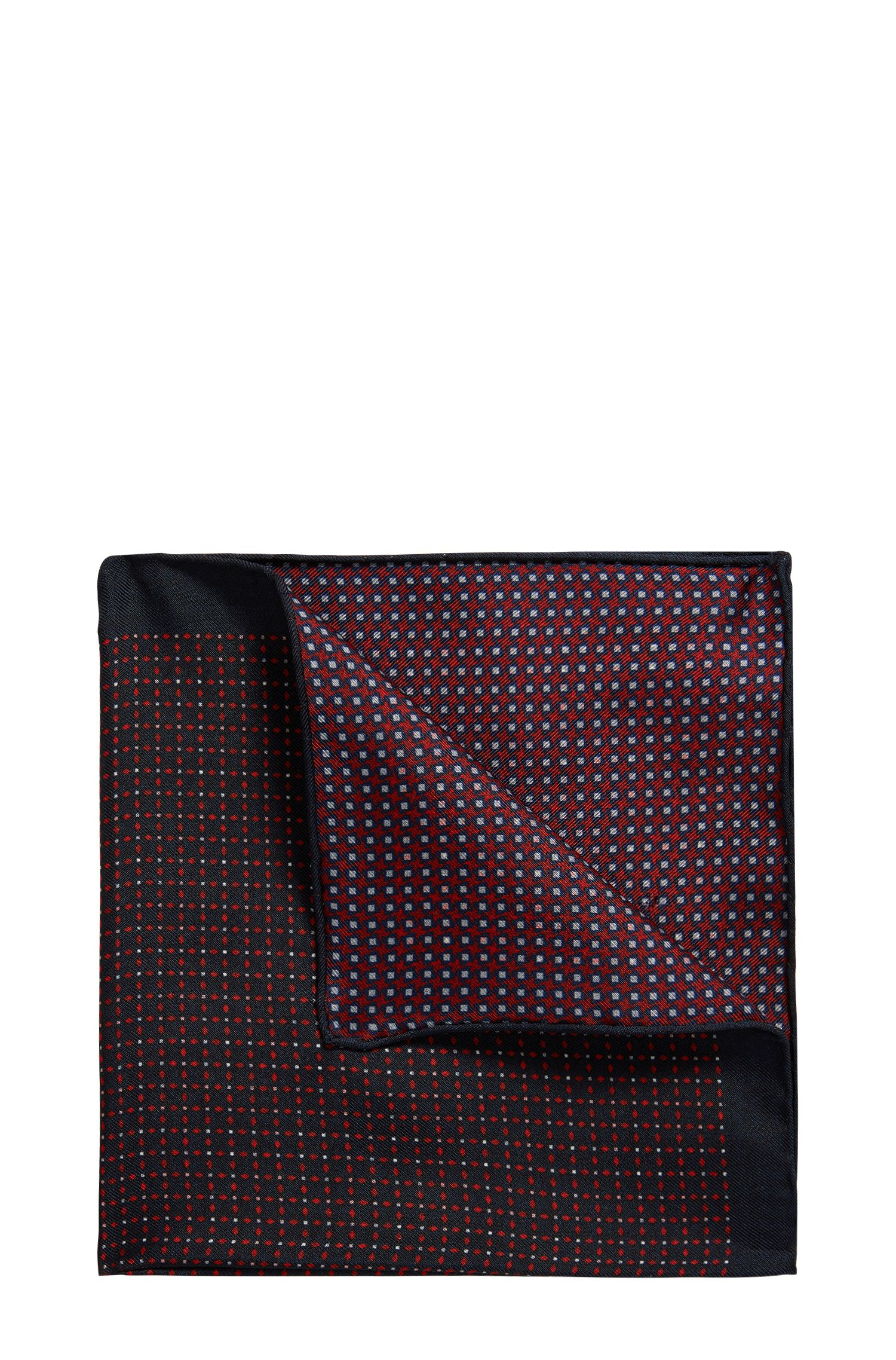 Reversible printed pocket square in pure silk