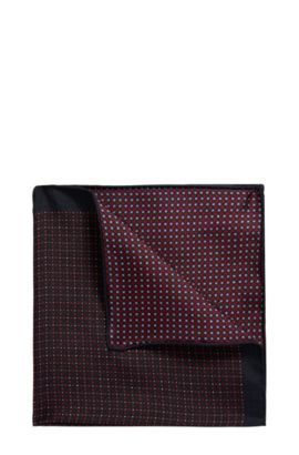 Reversible printed pocket square in pure silk, Red