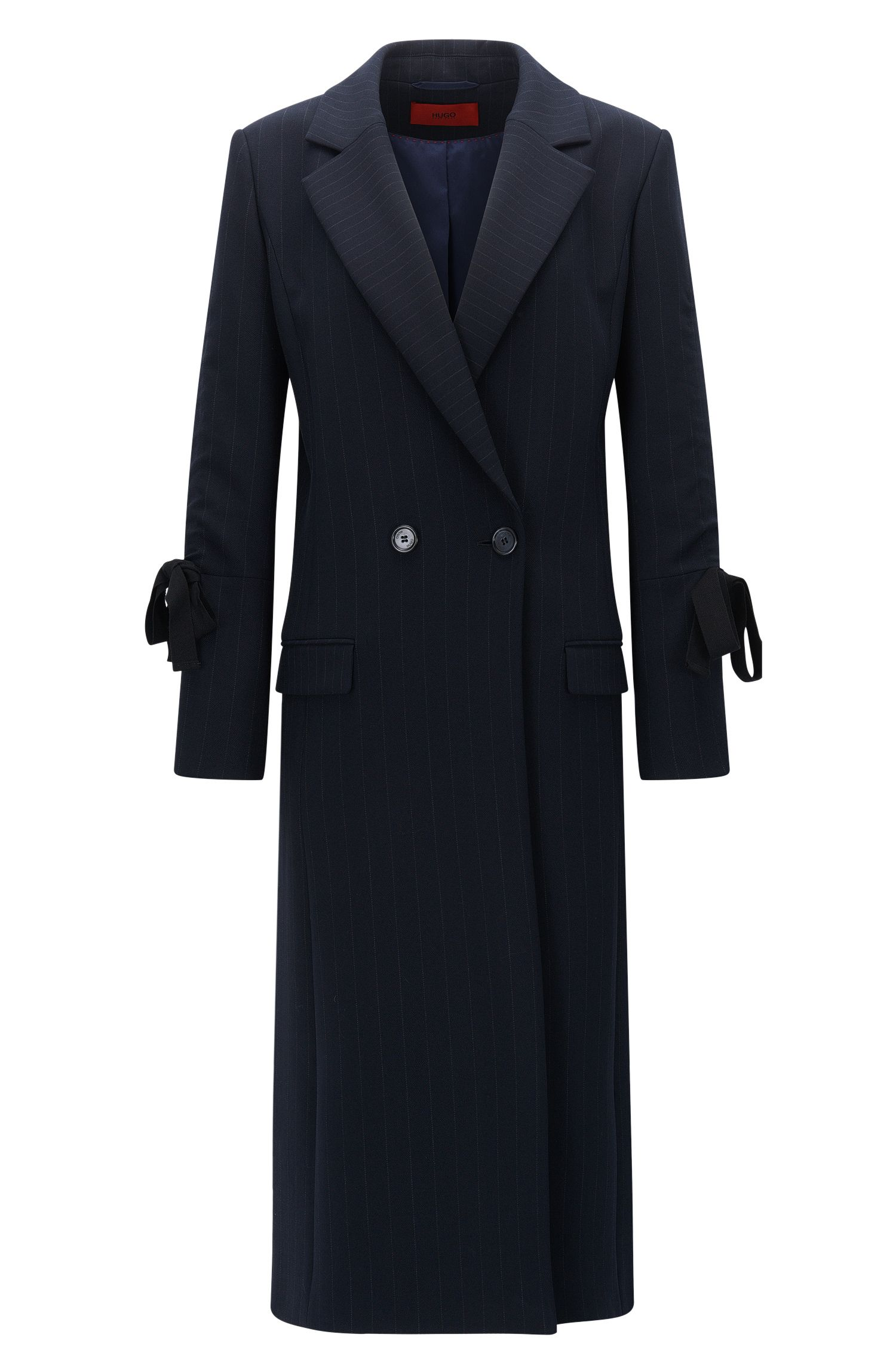 Pinstripe coat in double-face fabric