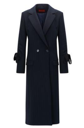 Pinstripe coat in double-face fabric, Dark Blue