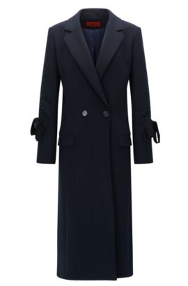Cappotto gessato in tessuto double-face, Blue Scuro