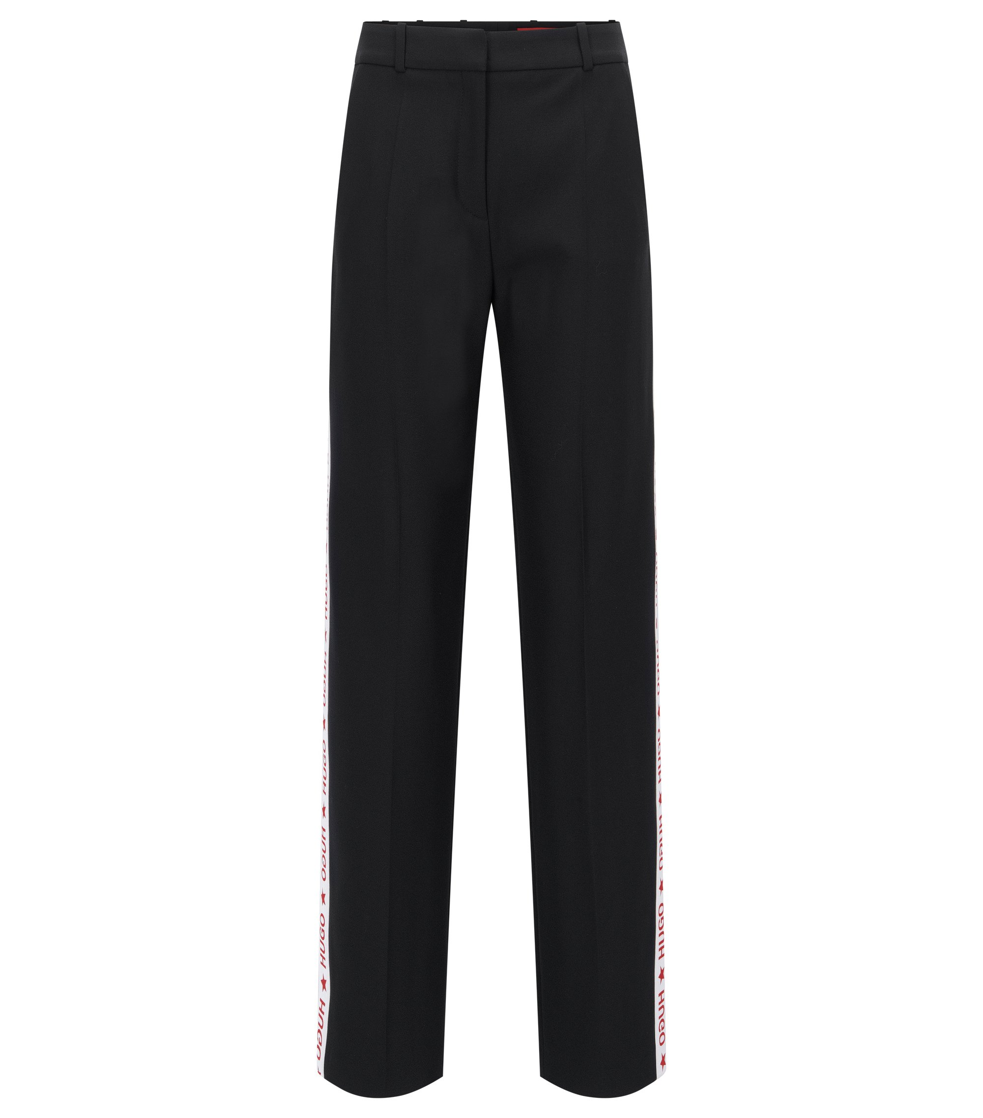 Oversized-fit trousers in technical crêpe, Black
