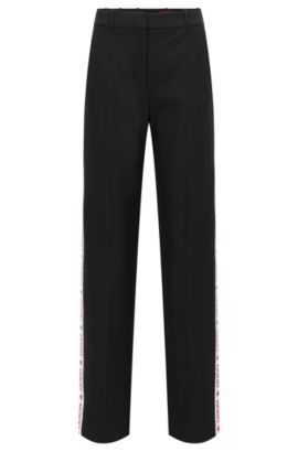 Pantalon Oversized Fit en crêpe technique, Noir