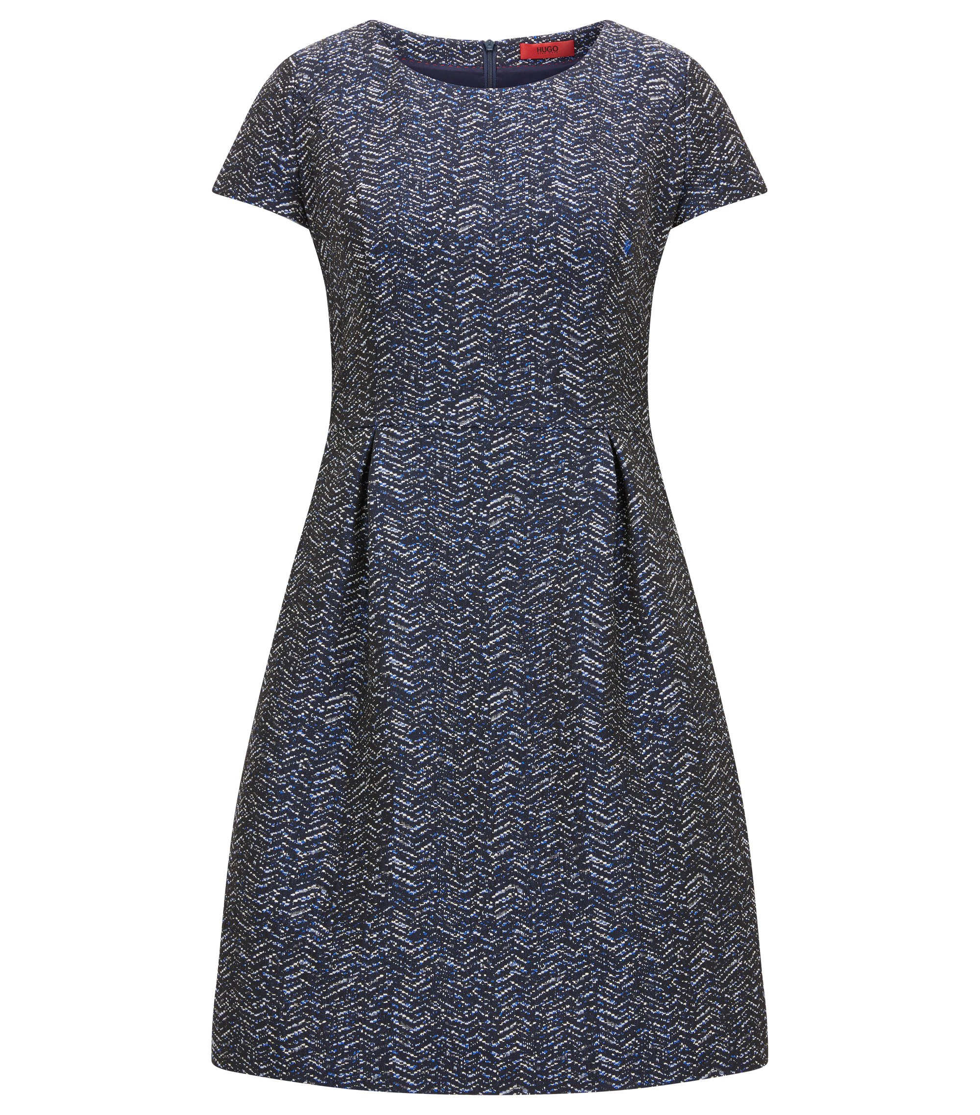Short-sleeved dress in zig zag jacquard, Dark Blue