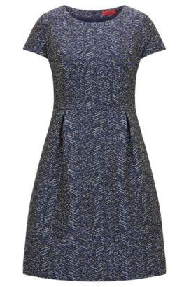 Regular-Fit-Kleid aus Material-Mix mit Baumwolle und Zick-Zack-Muster, Dunkelblau