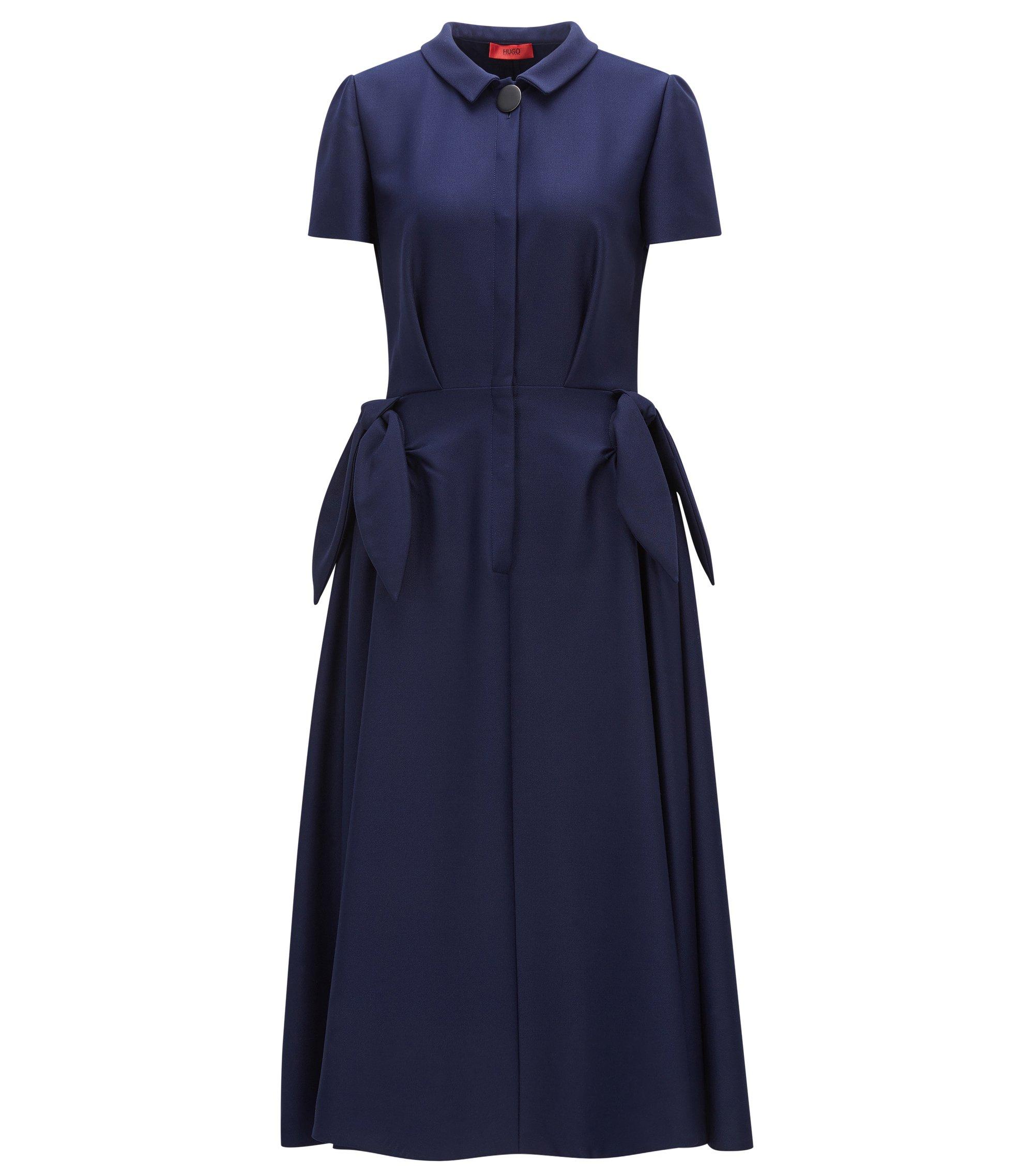 Robe-chemise en tissu stretch, Bleu foncé