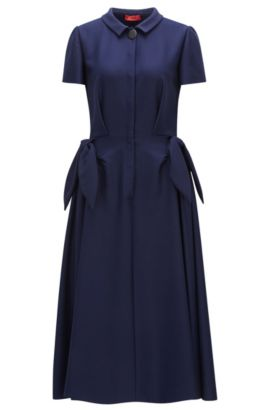 Shirt dress in stretch fabric, Dark Blue