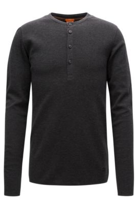 Slim-fit Henley T-shirt in waffle cotton, Black